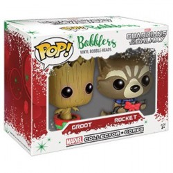 Pop Mini Marvel Guardians Christmas Groot and Rocket Racoon Mini Wobbler Limited Edition