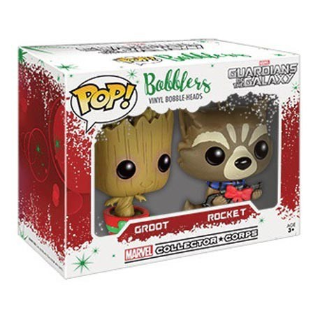 Figur Pop! Mini Marvel Guardians of the Galaxy Christmas Groot and Rocket Racoon Mini Wobbler Limited Edition Funko Online Sh...