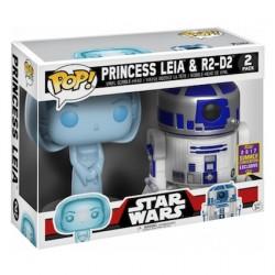 Figuren BESCHÄDIGTE BOX Pop! SDCC 2017 Star Wars Holographic Princess Leia & R2-D2 Limitierte Auflage Funko Online Shop Schweiz