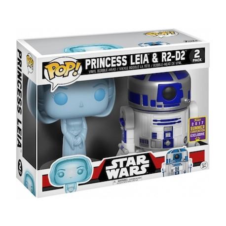 Figur DAMAGED BOX Pop! SDCC 2017 Star Wars Holographic Princess Leia & R2-D2 Limited Edition Funko Online Shop Switzerland