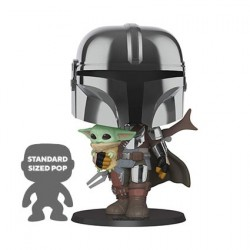 Figurine Pop! 25 cm Chrome Star Wars The Mandalorian Holding The Child (Baby Yoda) Funko Boutique en Ligne Suisse