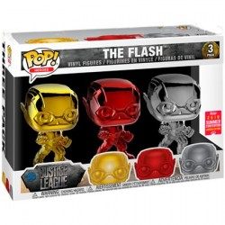 Pop! SDCC 2018 Chrome Justice League The Flash Red Gold Silver 3-Pack Limited Edition