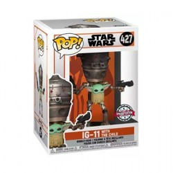 Figurine Pop! Star Wars Le Mandalorian IG-11 avec l'Enfant (Grogu) Edition Limitée Funko Boutique en Ligne Suisse